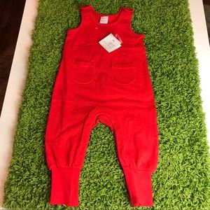 Toddler HANNA ANDERSSON Red Cinched Ankle Overalls